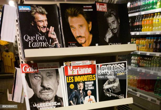 A view of 6 different front pages of French magazines after singer Johnny Hallyday's death on December 11 2017 in Paris France Johnny Hallyday died...