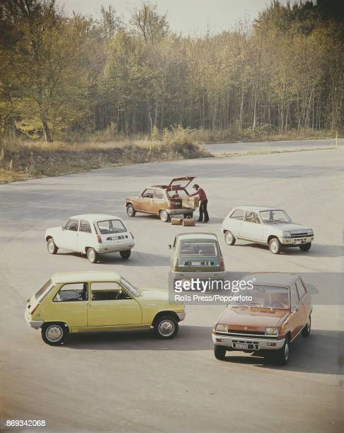 View of 6 new first generation Renault 5 cars built by the French car company Renault and launched in 1972