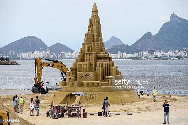 View of a 12meterhigh sand castle that aims to be the world highest sand castle in Niteroi Brazil on November 11 2014 The sand castle created by US...