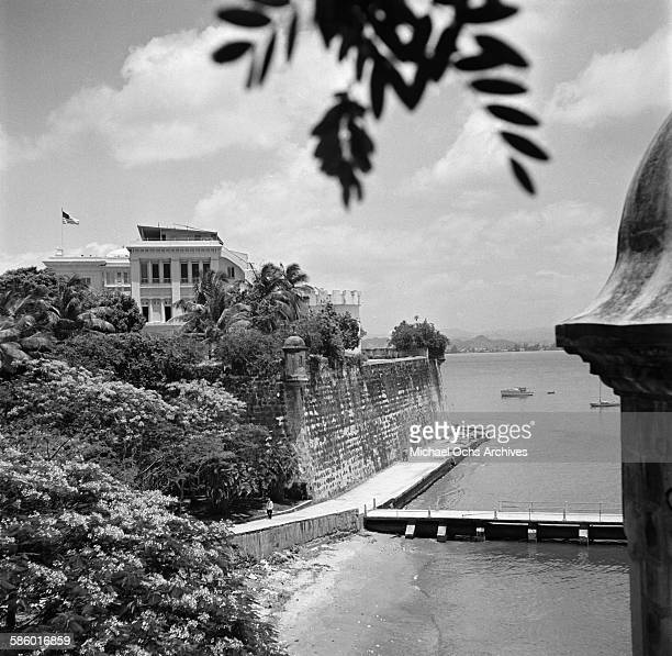 A view of a 42 foot wall surrounding Old San Juan in San Juan Puerto Rico