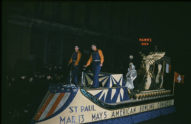 A view of a American Bowling Congress float in the night parade during the StPaul Winter Carnival in StPaulMinnesota