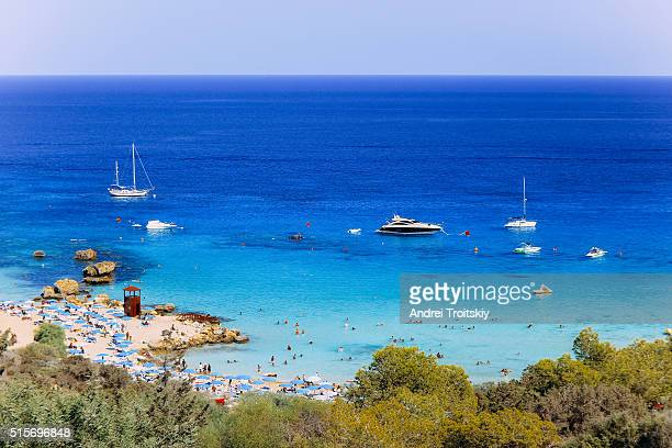 A view of a azzure water of the Mediterranean Sea by Konnos Bay beach, Protaras, Cyprus