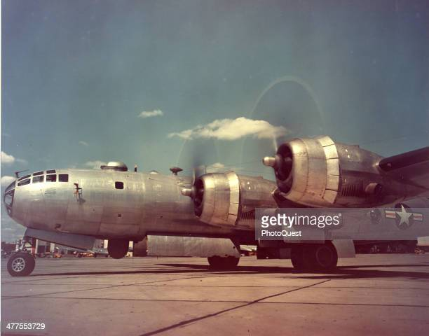 View of a B29 Superfortress as it warms up on the tarmac 1940s