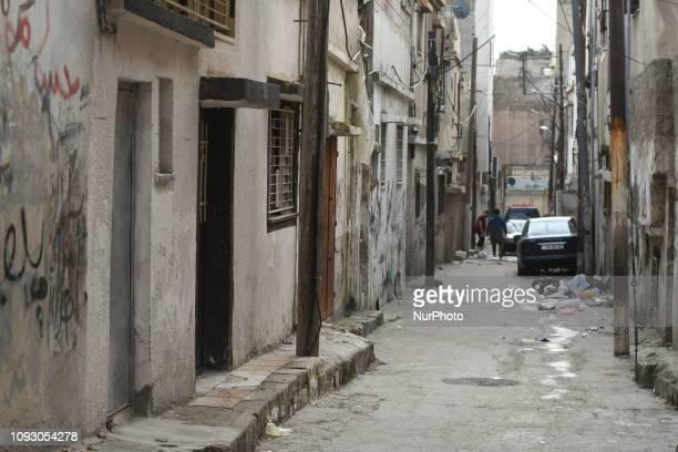 View of a backstreet inside Al-Wehdat Palestinian refugee camp, in Amman. On Friday, February 2 in Amman, Jordan.