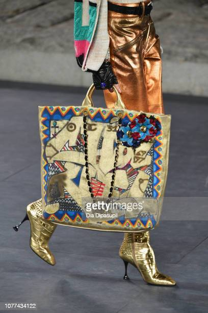 A view of a bag as a model walks the runway at Chanel Metiers D'Art 2018/19 Show at The Metropolitan Museum of Art on December 04 2018 in New York...