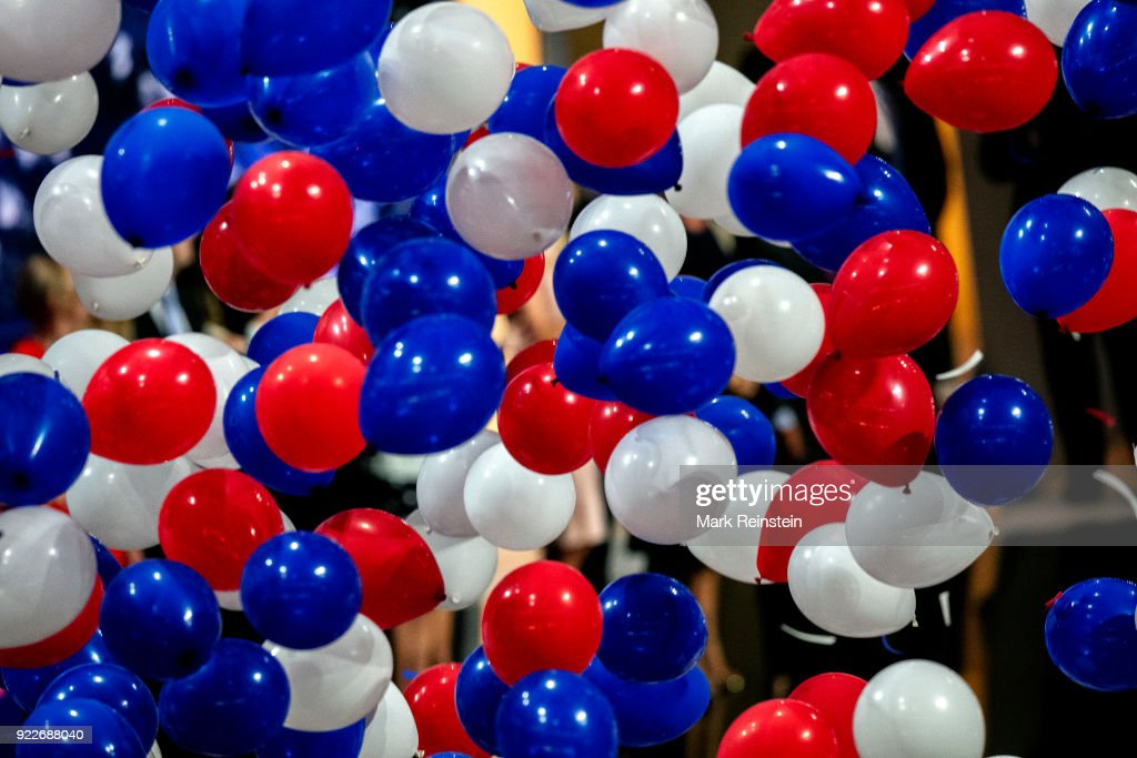 View of a balloon drop at the conclusion of the Republican National Convention at the Quicken Loans Arena, Cleveland, Ohio, July 21, 2016.