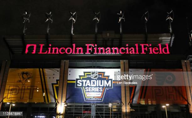 A view of a banner hung in preparation for the 2019 Coors Light NHL Stadium Series between the Philadelphia Flyers and Pittsburgh Penguins on...