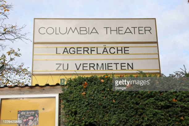 View of a banner sarcastically reading 'storage space for rent' at Colombia Theater on the first day of a four-week semi-lockdown during the second...