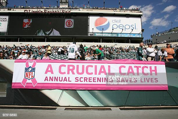 A view of a banner with the Breast Cancer Awareness/NFL logo during a game between the Philadelphia Eagles and the Tampa Bay Buccaneers on October 11...