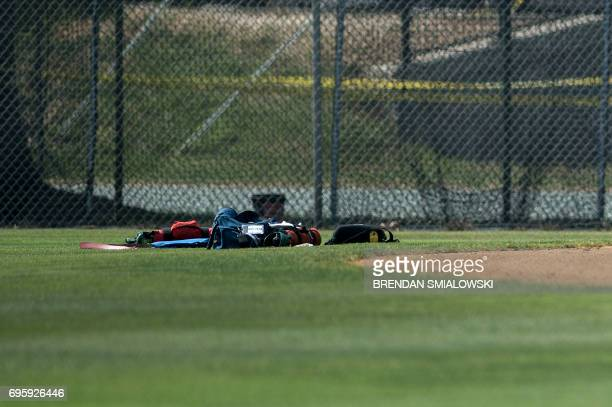 A view of a baseball field after a shooting during a practice of the Republican congressional baseball at Eugene Simpson Statium Park June 14 2017 in...
