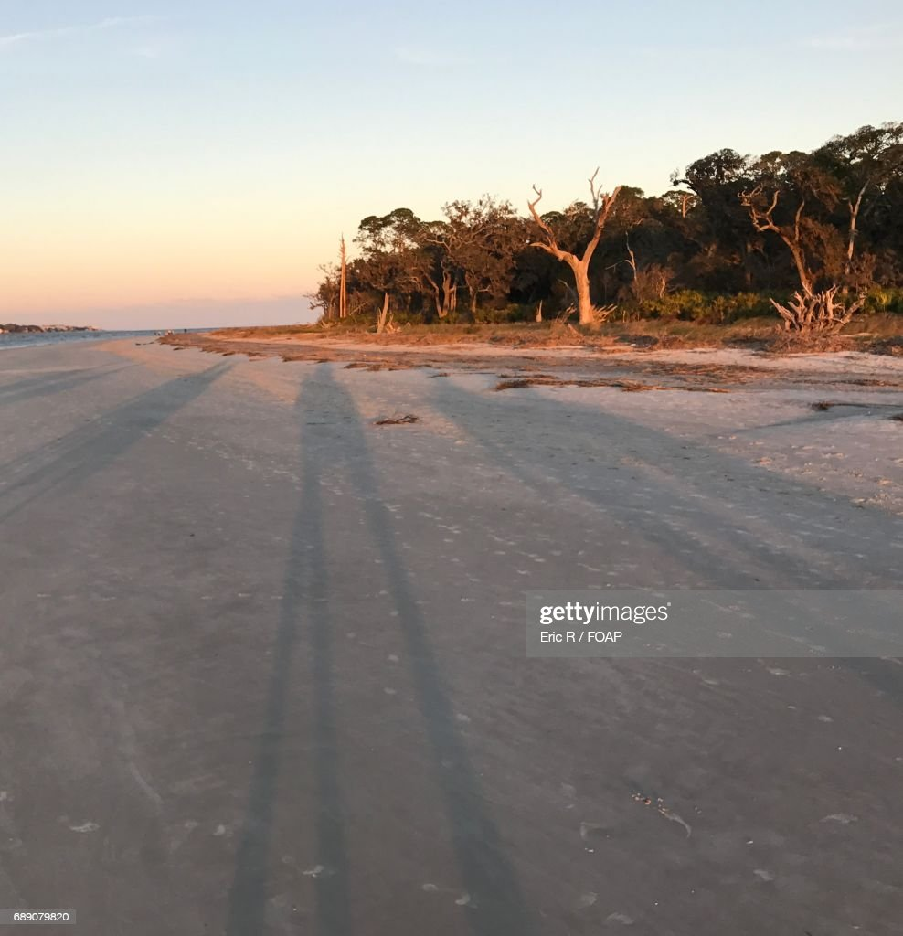 View of a beach at sunset : Stock Photo