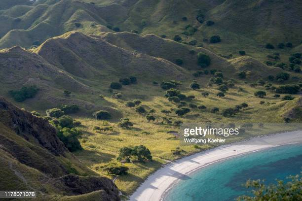 View of a beach from a hill on Padar Island located between Komodo and Rinca islands within Komodo archipelago, part of Komodo National Park ,...