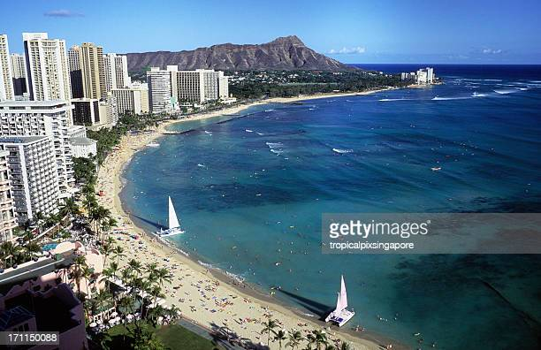 View of a beach in Oahu, Hawaii, Waikiki and Diamond Head