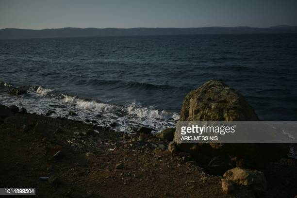 A view of a beach near the village of Skala Sykamineas on the Greek island of Lesbos on August 3 2018