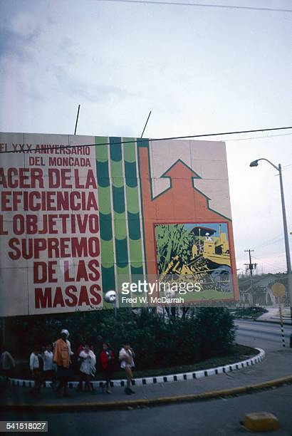 View of a billboard outside Jose Marti International Airport Havana Cuba January 27 1983