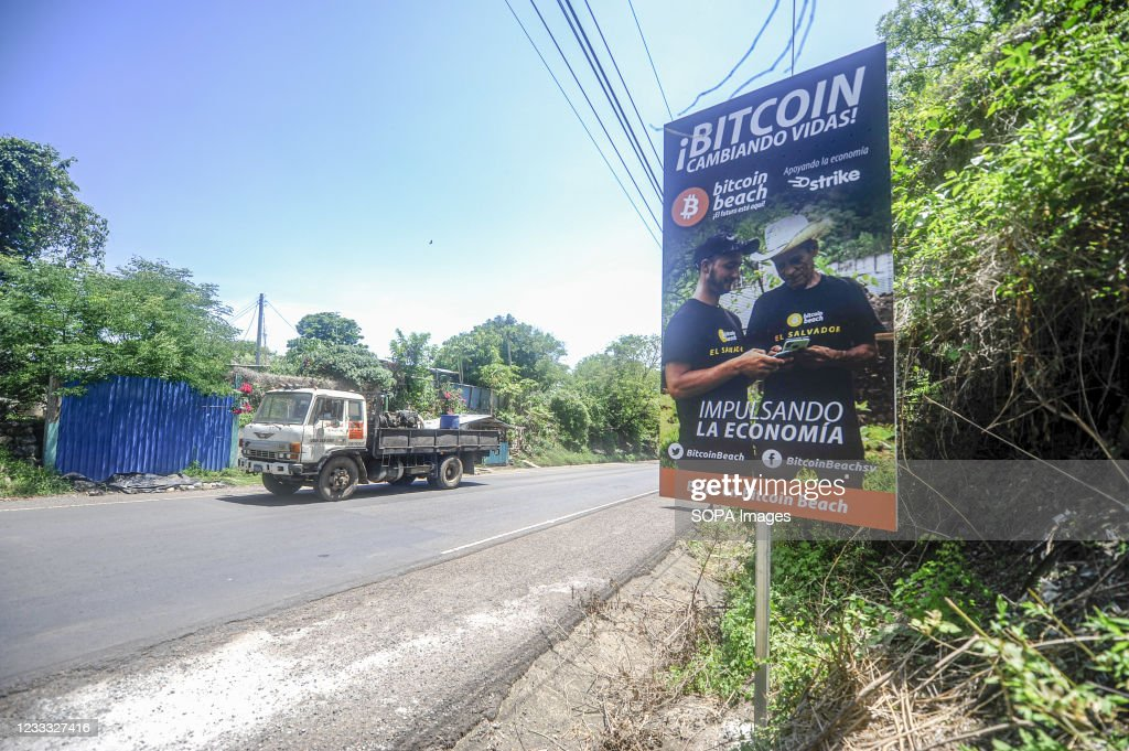 View of a Bitcoin signpost on the road. Salvadoran President... : News Photo