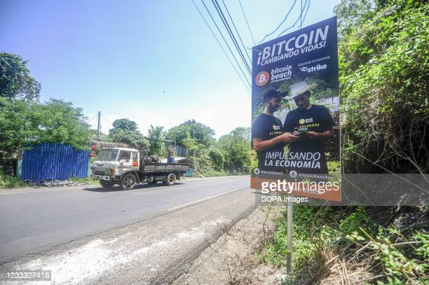 View of a Bitcoin signpost on the road. Salvadoran President Nayib Bukele has announced that he will propose a law to the Congress, where his party...