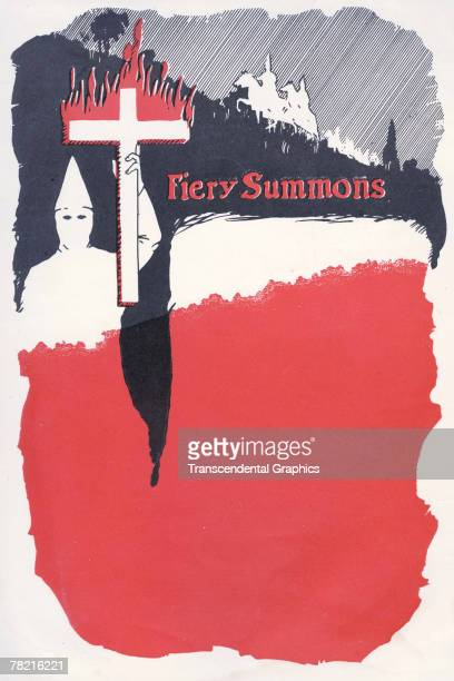 View of a blank piece of Ku Klu Klan stationary that features the phrase 'Fiery Summons' and a hooded figure who holds aloft a burning cross 1920