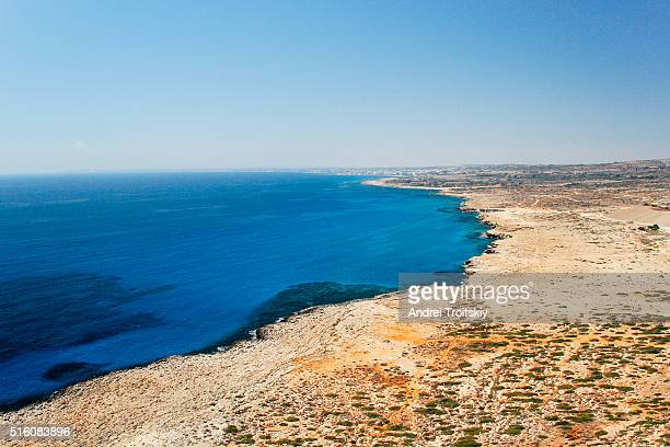 View of a blue Lagoon near Ayia Napa from the peak point of the Cape Greko National Park, Cyprus