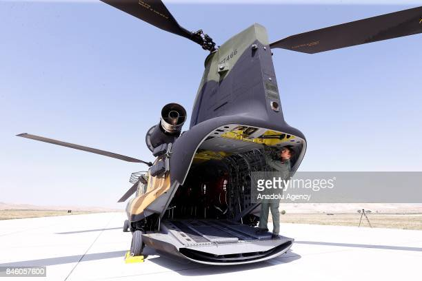 A view of a Boeing CH47 Chinook of Turkish Armed Forces during a press tour at Senior Lieutenant Gurcan Ulucan Airfield in Ankara Turkey on September...