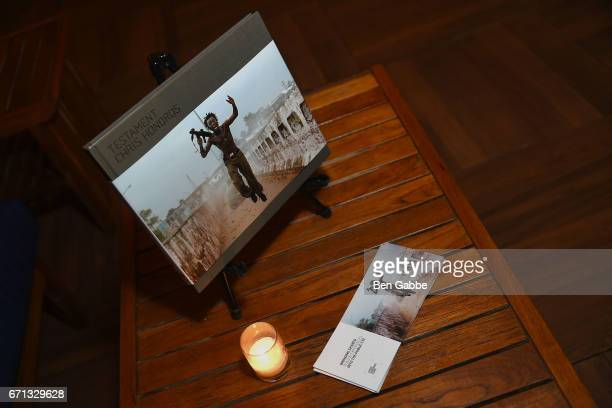 A view of a book of photos by Chris Hondros at the 'Hondros' Premiere After Party during Tribeca Film Festival at STK Rooftop on April 21 2017 in New...