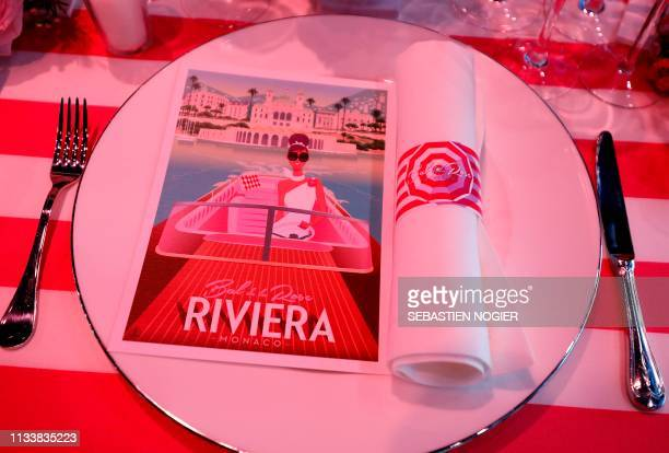 View of a booklet designed by late German Karl designer Lagerfeld on table arrangements is pictured ahead of the 'Bal de la Rose' in Monaco, on March...
