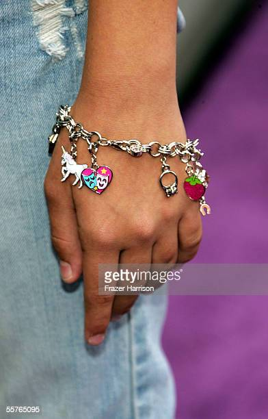 A view of a bracelet worn by actress Taylor Dooley as she arrives at the Nickelodeon Presents 'Fairypalooza' Premiere of 'Rugrats Tales from the Crib...