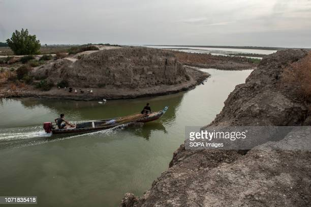 View of a breached dam. During the 1990s Saddam Hussein built barrages to reduce the water flow from the Euphrates river into the Marshes, in 2003...