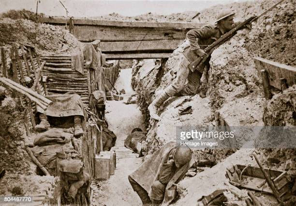 View of a British trench, Ovillers, France, World War I, 1916. Men of the 11th Battalion, the Cheshire Regiment, during the Battle of the Somme....