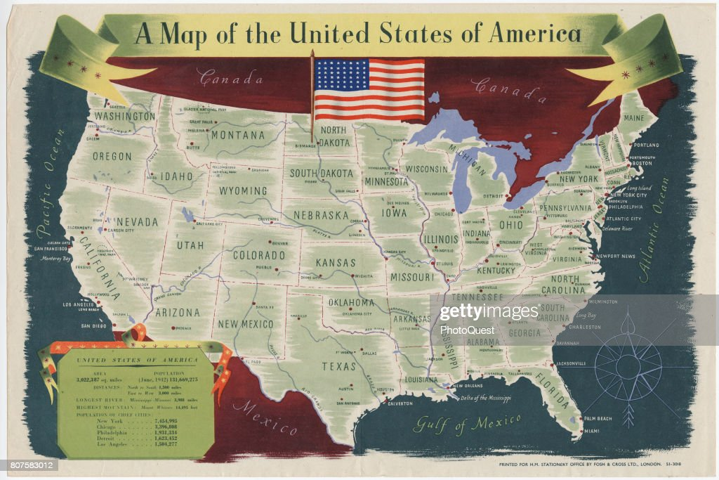 US Map Poster Pictures Getty Images - Us map with rivers and cities