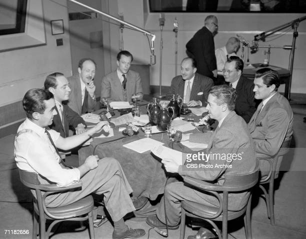 View of a broadcast roundtable discussion as part of a CBS Radio news special called 'The World at MidCentury' hosted by American journalist Edward R...