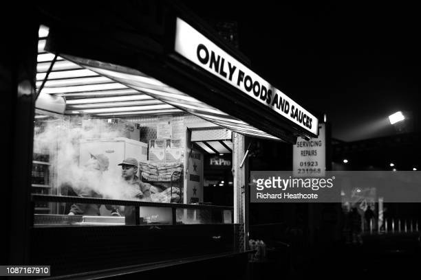 A view of a burger van outside the ground before the Premier League match between Watford FC and Chelsea FC at Vicarage Road on December 26 2018 in...
