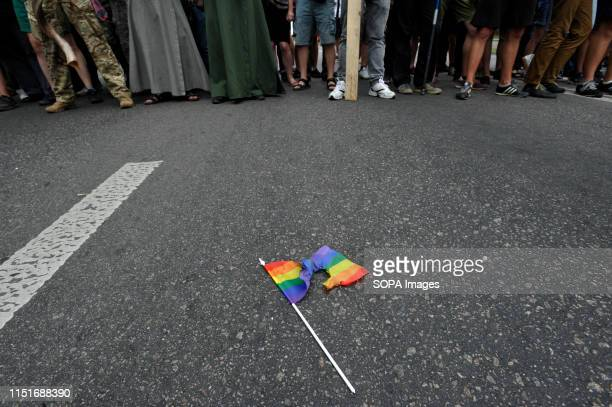 A view of a burnt LGBT flag during a protest against the annual Gay Pride parade in Kiev More than 8000 people turned out in Kiev for the annual Gay...