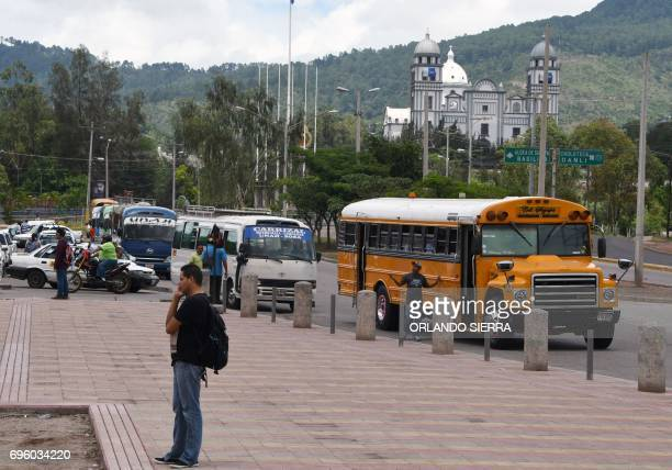 A view of a bus station in Tegucigalpa on June 14 2017 Public transport workers and passengers in this Central American country have been killed by...