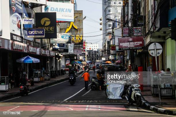 View of a business district amid Coronavirus threats on the ABC Street The Indonesian government will gradually open shopping centers restaurants and...
