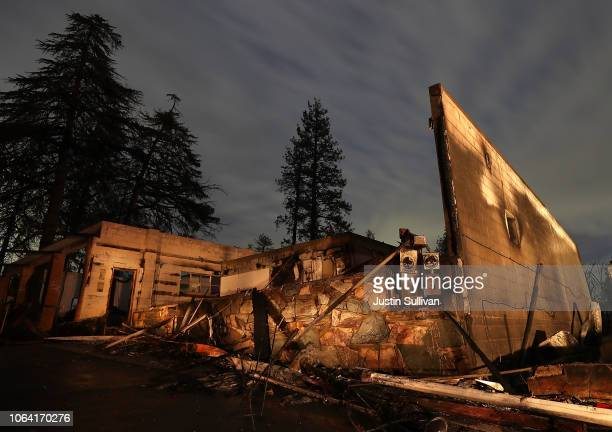 A view of a business that was destroyed by the Camp Fire on November 21 2018 in Paradise California Fueled by high winds and low humidity the Camp...