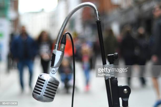 A view of a busker microphone seen on Grafton Street in Dublin On Friday May 4 in Dublin Ireland