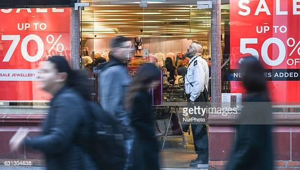 View of a busy Grafton Street, in Dublin city center. On Sunday, 8 January 2017, Dublin, Ireland.