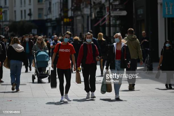 View of a busy Grafton Street in Dublin. Ireland takes another step towards normality with all non-essential retail being allowed to resume from...