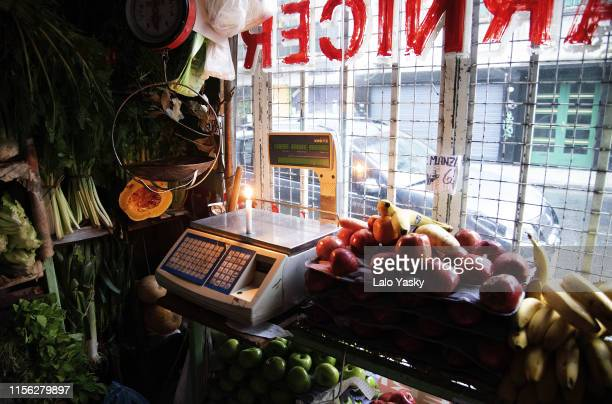 VIew of a butcher shop and greengrocery during the massive energy blackout on June 16 2019 in Buenos Aires Argentina A widespread power failure early...