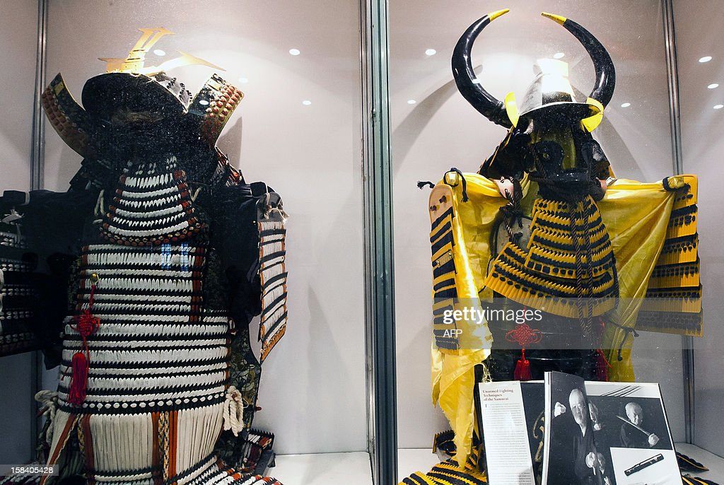 View of a cabinet displaying Samurais' wardrobe used in the XV century, during the 'Japan and its Ancestral Warriors' exhibition, in Monterrey, Mexico on December 15, 2012. AFP PHOTO/Julio Cesar Aguilar