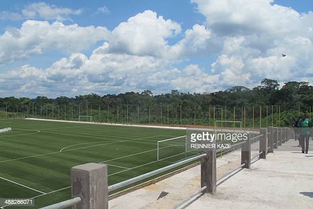 A view of a CAF Center of Excellence an imposing sports complex including three football stadiums in Mbankomo some 30 kilometers outside Yaounde on...