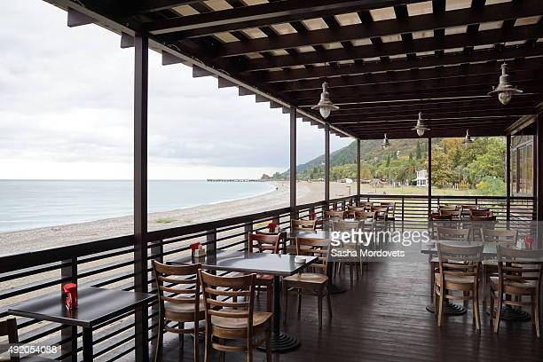 A view of a cafe on the seafront of the Black Sea on October2015in Gagra Abkhazia Abkhazia is a disputed territory of Georgia and partialy recognized...