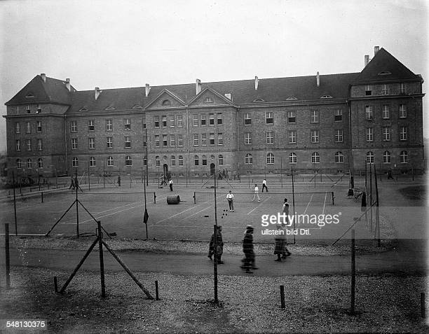 View of a camp for captured allied officers near Heidelberg in front are tennis courts built and used by British officers summer 1915