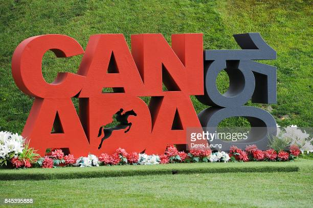 A view of a Canada 150 sign to honor Canada's 150th birthday on the final day of the Masters tournament at Spruce Meadows on September 10 2017 in...