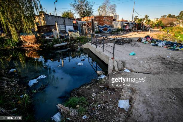 View of a canal contaminated with sewage and wastewater in Villa Itati on May 28, 2020 in Quilmes, Argentina. First positive cases of COVID-19 have...
