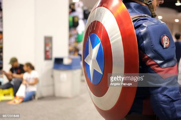View of a Captain America cosplayer's shield during WonderCon 2018 at Anaheim Convention Center on March 23 2018 in Anaheim California