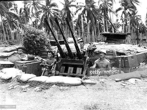 View of a captured Japanese pom pom gun put to use by the American forces on Guadalcanal, January 1943.