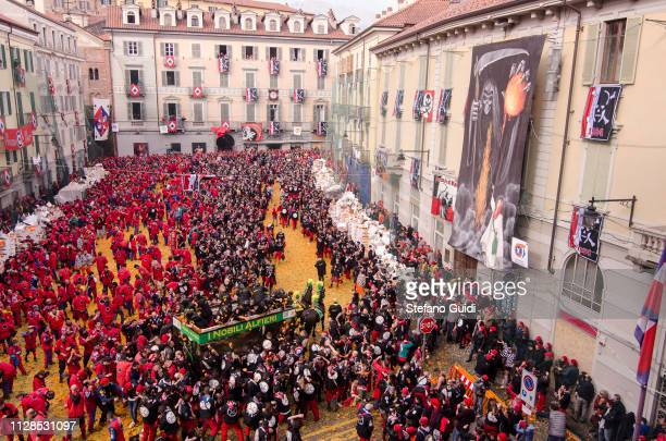 View of a carpet of oranges during the traditional battle of the oranges during the Ivrea Carnival near Turin The Battle of the Oranges the largest...