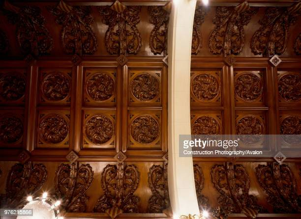 View of a carved wooden ceiling